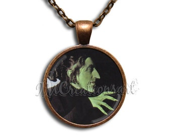 Wizard of Oz Witch of the East Glass Dome Pendant or with Chain Link Necklace