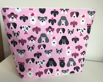All About Dogs Project Bag Knitting Bag Craft Organizer Travel Organizer