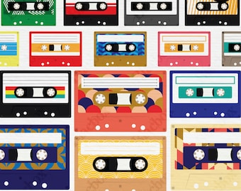 Retro Cassette Tape Clipart. PNG + Vector. Personal and Commercial Use. Instant download.