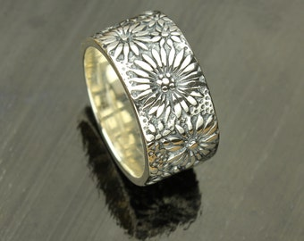 Flower Silver Ring, Sterling, Silver Flower Pattern Wide Band