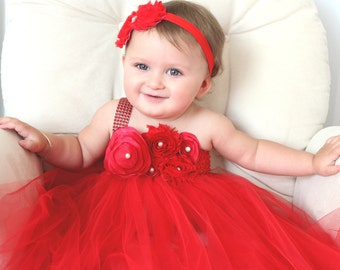 Beautiful Red Satin Shabby Chic Flower Tutu Dress for Baby Girl First Birthday First Christmas 6-18 Months