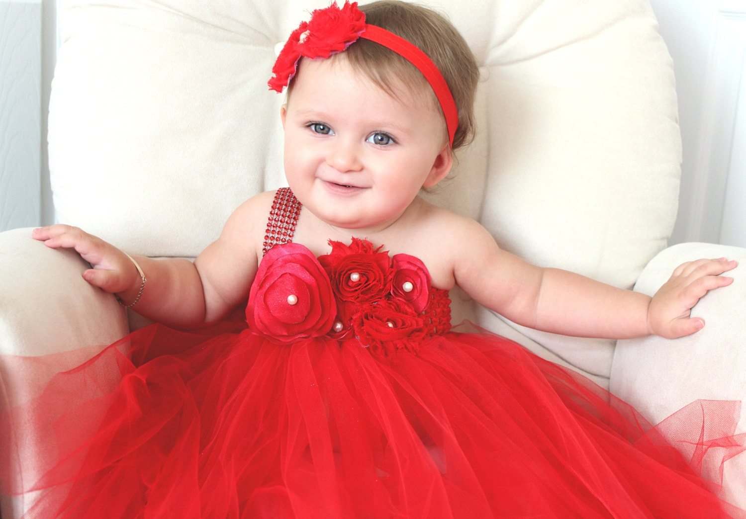 Beautiful Red Satin Shabby Chic Flower Tutu Dress For Baby