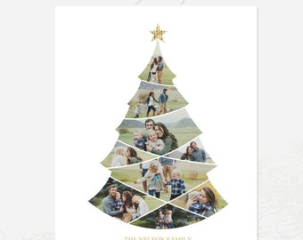 Christmas Tree Collage Template - 16x20 Print Template - Blog Board - Storyboard Photoshop Template 006 - ID247, Instant Download