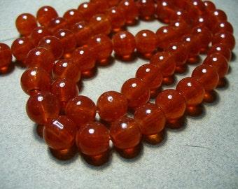 Jade Glass Beads Red  Round 8MM