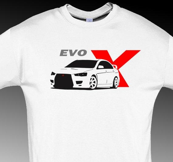 Tshirt For Evo X Mitsubishi Fans T Shirt Evolution Jdm White S