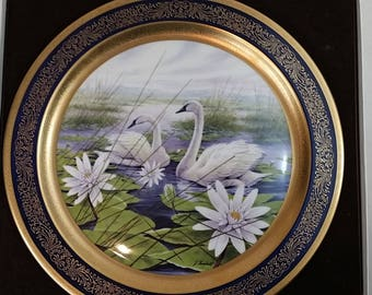 Pickard China Collector Plate, Lockhart 1980, Trumpeter Swan, 808/2000, Decorative Swan Plate,