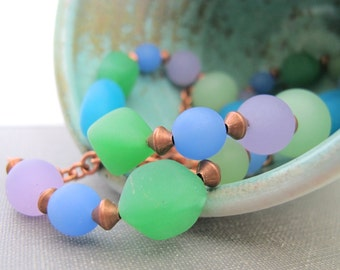 Copper Necklace, Recycled Glass, Glass Necklace, Lavender Glass, Green Glass, Blue Glass, Copper Chain,