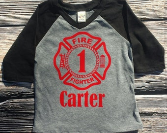Fireman first birthday shirt, raglan birthday shirt, First birthday shirt, fire emblem birthday shirt