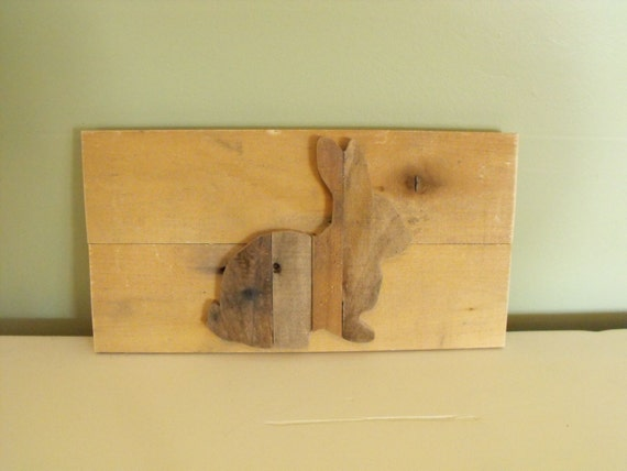 Bunny Silhouette Rabbit reclaimed pallet wood wooden sign