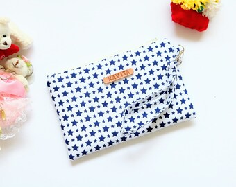 Navy Blue Star Wristlet, Personalized Bridesmaid Clutch, Bridesmaid Gift, Bridesmaid Wristlet