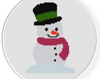 Snowman PDF Cross Stitch Pattern Needlecraft - Instant Download - Modern Chart