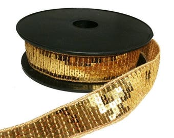 Ribbon Sequin glitter gold braid sold by 10cm