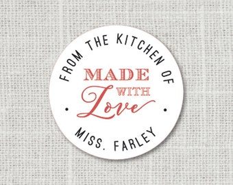 Made with Love Stickers, Personalized Food Labels, From the Kitchen of Gift Stickers, Favor Labels, Baked Good Stickers