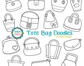 Tote Bag Digital Stamp Pack - Black and White Clipart / Purse Clip Art / Bag Stamps / Fashion Clip Art / Handbag Clipart  - Instant Download