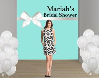 Bridal Shower Personalized Photo Backdrop - Baby Shower Party Backdrop, Aqua and White Bow Photo Backdrop, Custom Backdrop