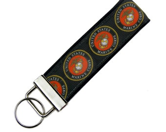 Key Chain / Key Fob made with US Marine Corps Ribbon; with Optional Initials
