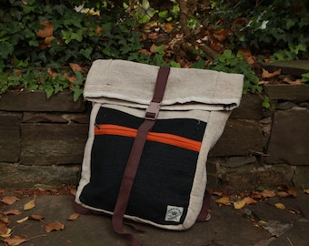 Hemp Backpack with black accent