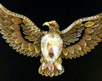 After Life Accessories: Handmade Gold Plated Rhinestone Eagle Bib Chain Necklace