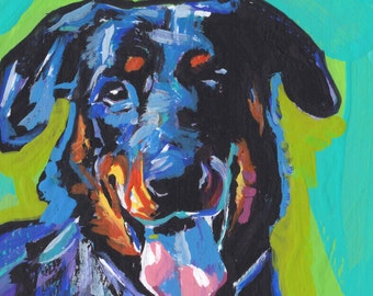 Beauceron dog art print of pop art painting  bright colors 8x8 LEA