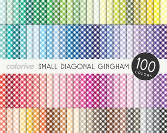Small Gingham digital paper 100 rainbow colors small diagonal gingham check picnic bright pastel printable scrapbook papers