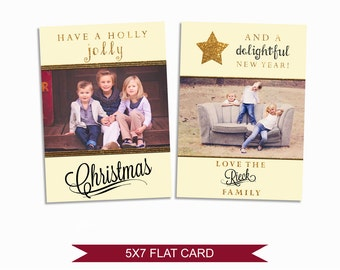 Gold Christmas Card Template - 5x7 Photo Card - Photoshop Template - INSTANT DOWNLOAD or Printable - CC01