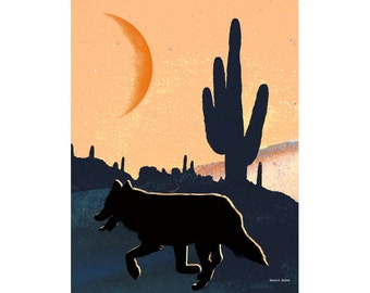 Wolf in Chihuahuan Desert, Photomontage Art, West Texas, Native American Totem Animal, Southwestern Home Decor, Wall Hanging, Giclee Print