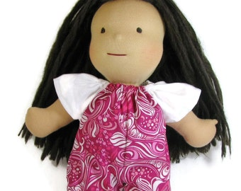 15 inch doll pink swirl romper with white sleeves, pink doll jumpsuit, 14 to 16 inch doll clothes, handmade doll clothing for natural dolls