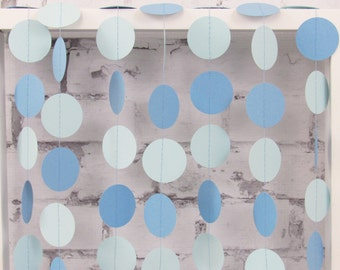 Blue Paper Garland - Boy Baby Shower Decor - Winter Wedding Bunting