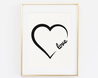 Love Wall Art, Printable Wall Art, Modern Wall Art, Abstract Wall Art, Black and White Wall Art, home Decor, Heart Print Typography Wall Art