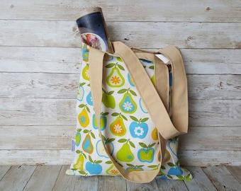 Market tote, book bag, reusable grocery bag, mother's day gift, tote bag, shoulder bag, foldable shopping bag, blue green orange, apple pear