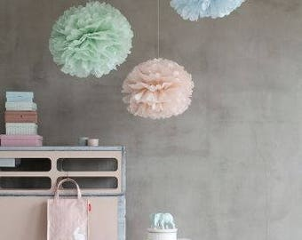 Set of 12 units (4+4+4) tissue paper pom poms - Pastel Mint Ice Blue Vintage Rose pom poms - handmade - lots of colours to choose from