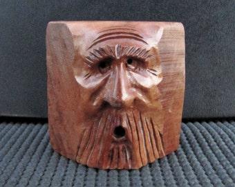 Wood Spirit, Wood Carving, Blockhead, Wizard, Mountain Man, OOAK Handmade Artist Sculpture, Log Cabin Decor, Briar Wood, Whimsical, WS-127