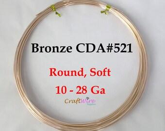 1 Lb, Bronze Wire CDA 521, 10 11 12 14 16 18 20 22 24 26 28  gauge, Round, Dead Soft Wire, Raw Bronze, Bulk Jewelry Supplies, Ga