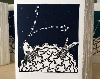 StarGazey Skies - Pisces Zodiac Birthday Card (February 19 to March 20)