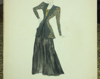 1940's Vintage Women Dress Sketch