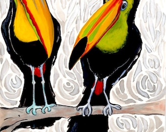 Two Toucans,   An original painting