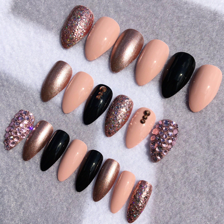 Pinkish Nude Stiletto Fake Nails * Faux Nails * Glue On Nails * Rose ...