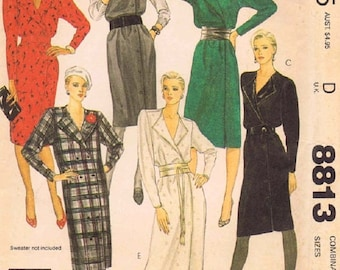 McCall's 8813 Misses Dress Or Jumper Sewing Pattern, Lapped Bodice, Tapered Sleeves, Size 6-8, UNCUT