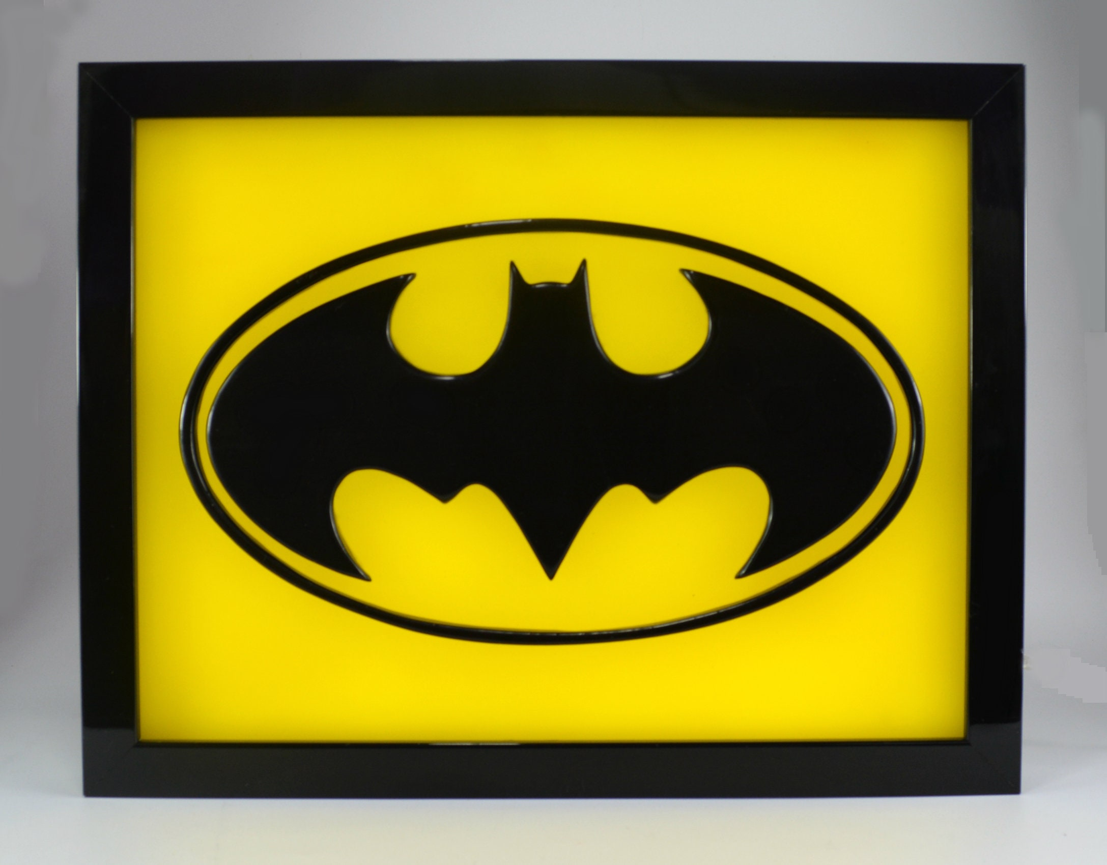 The Batman symbol logo wax painting led light box