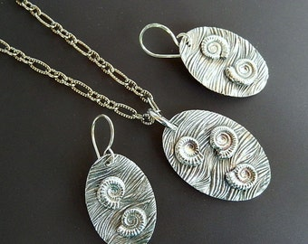 Sterling Ammonites Matching Necklace and Earrings Set Fine Silver and Sterling Silver with 22-inch Oxidized Sterling Silver Link Chain