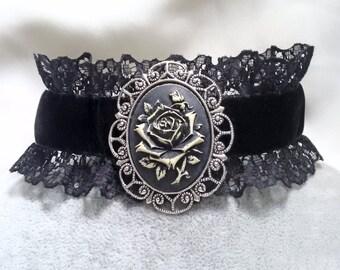 Necklace - Choker - Cameo - Rose Choker -  Rose Cameo Necklace - Velvet Choker  - Victorian Gothic Choker
