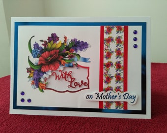 Mothers Day card, poppy floral decoration, With love on Mothers Day sentiment