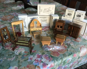 Hello Dolly Wooden Miniature Dollhouse Furniture TEN In Total; New Vintage  In Original Boxes Taiwan