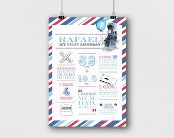 Printable Birthday Poster | Birthday Sign | Birthday Board | First Birthday | 1st Birthday Poster | Milestone Poster | First Birthday Sign