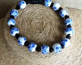 ceramic bracelet, vintage style ceramic bracelet, big ceramic bracelet, blue white ceramic beads bracelet, adjustable ceramic bracelet
