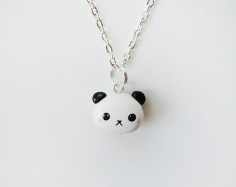 Kawaii Panda Face Polymer Clay Charm Necklace