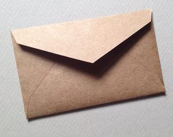 "50 Mini Kraft Envelopes-Size 2 1/4"" x 3 1/2"" Rustic Brown - Business Cards - Favor Envelope"