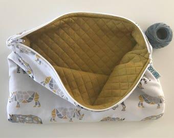 Layers or makeup - bag yellow origami rhino diaper clutch