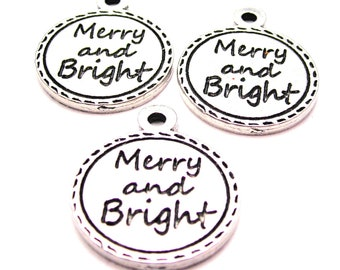 Merry and Bright Christmas  charms 3 pieces