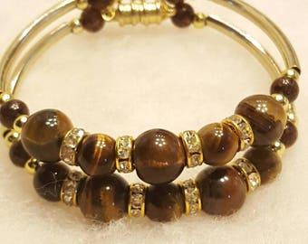 Gold - n - Tigers Eye Memory Wire Bracelet